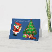 Western Cowboy Santa With Christmas Tree Holiday Card