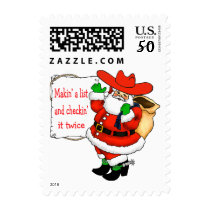 Western Cowboy Santa With List Postage
