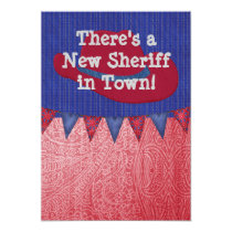 Western Cowboy Sheriff Baby Announcement