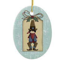 Western Cowboy Sheriff Gift Tag Keepsake Ceramic Ornament