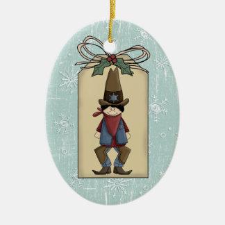 Western Cowboy Sheriff Gift Tag Keepsake Double-Sided Oval Ceramic Christmas Ornament