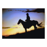 Western Cowboy Sunset Silhouette Greeting Cards