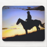 Western Cowboy Sunset Silhouette Mouse Pad