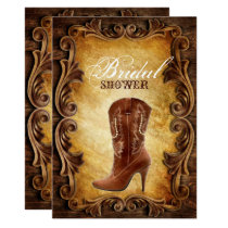 western cowboyboots vintage bridal shower invitation