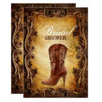 western cowboyboots vintage bridal shower invitation