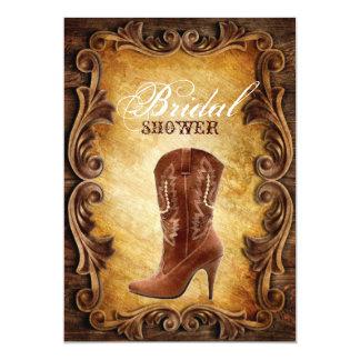 western cowboyboots vintage bridal shower 5x7 paper invitation card