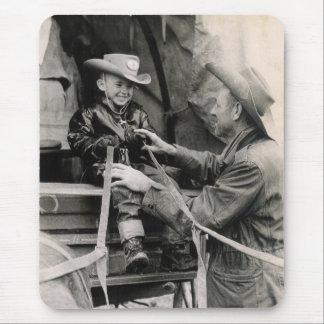Western Cowboys on Wagon Vintage Photo Print Mouse Pad