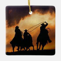 Western Cowboys Roping Ceramic Ornament