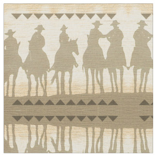 Western Cowboys Roundup Time wild west horse theme Fabric