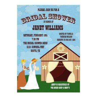 Western Cowgirl Barn Bridal Shower Invitation