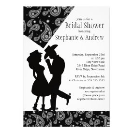 Western Cowgirl couple Bridal Shower Invitation