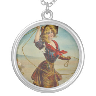 Western Cowgirl Cowboy Art Vintage Necklace Charm