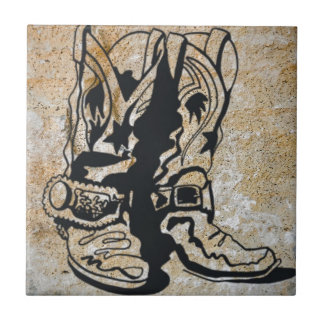 Western Cowgirl Cowboy Boots Ceramic Tile
