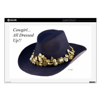 """Western Cowgirl Hat Dressed To Party Decals For 17"""" Laptops"""