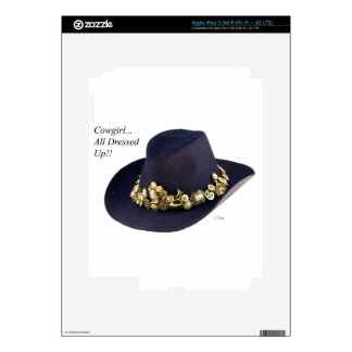 Western Cowgirl Hat Dressed To Party iPad 3 Decal