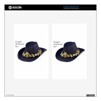 Western Cowgirl Hat Dressed To Party Kindle Fire Decals