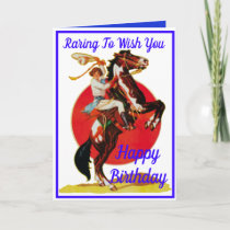 Western Cowgirl Horse Happy Birthday Holiday Card