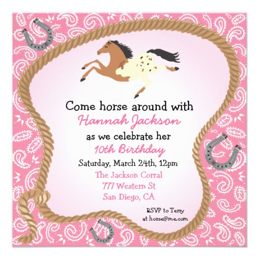 Western Cowgirl Horse Party Invitation