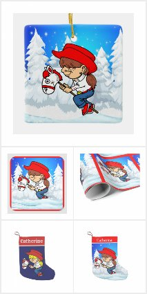 Western Cowgirl Kid On Stick Horse Winter Scene