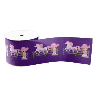 """Western Cowgirl Kid With Horse And Saddle 3 """" Grosgrain Ribbon"""
