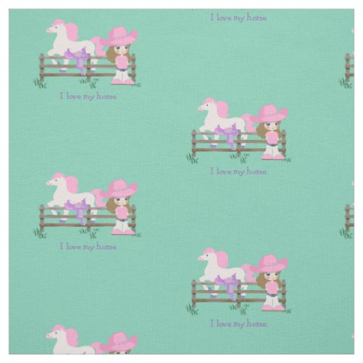 Western cowgirl kid with horse and saddle print fabric for Kids horse fabric