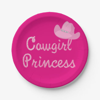 Western Cowgirl Princess Party Pink Hat Paper Plate