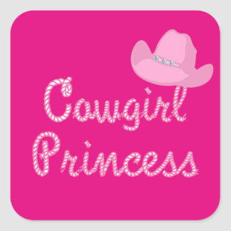 Western Cowgirl Princess Pink Hat Square Sticker