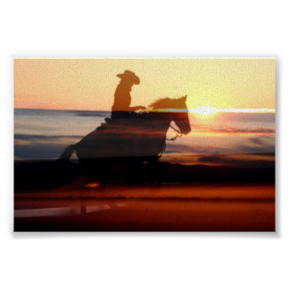 Western Cowgirl riding off into the sunset Poster