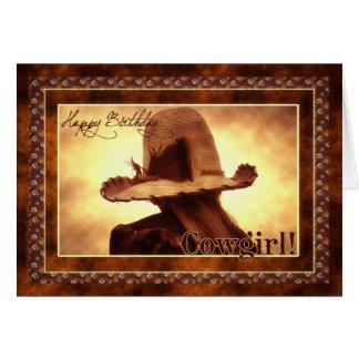 Western Cowgirl Themed Birthday Card