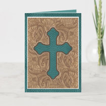 Western Cross Leather Print Tan Teal Holiday Card