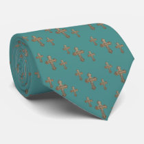Western Cross With Rope And Conchoe Print Necktie