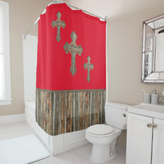 Western Crosses Barn Wood And Conchos Shower Curtain