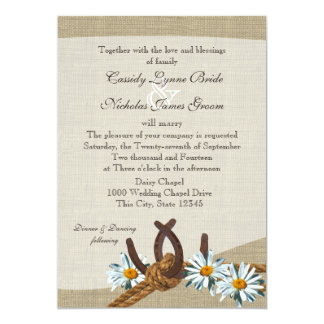 Western Daisies and Horseshoes 5x7 Paper Invitation Card