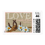 Western Daisies and Horseshoes Love Postage Stamp