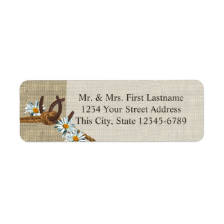 Western Daisies and Horseshoes Return Address Label