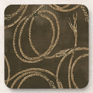 Western Decor Brown Rope Pattern 6 Coasters