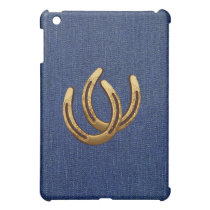 Western Denim & Golden Horseshoes Cover For The iPad Mini