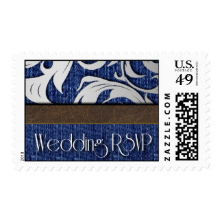 Western Denim & Leather Swirl Wedding Postage