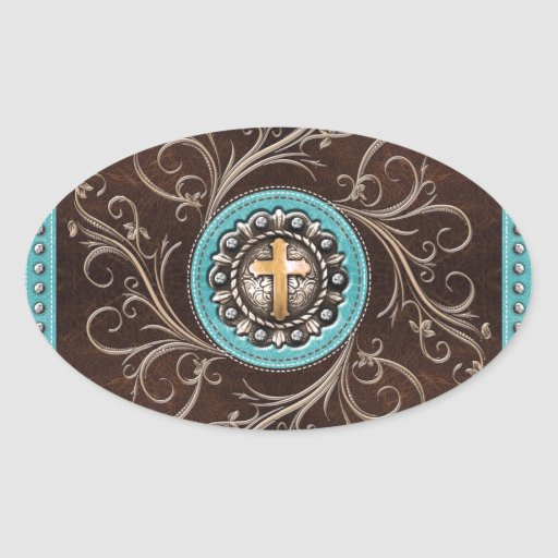 Western Design in Teal and Natural Oval Stickers