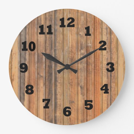 western distressed wooden wall large clock zazzle