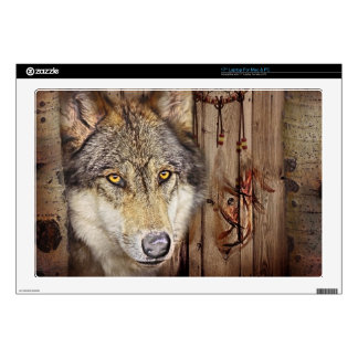 """Western dream catcher  native american indian wolf decals for 17"""" laptops"""