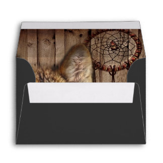 Western dream catcher  native american indian wolf envelope