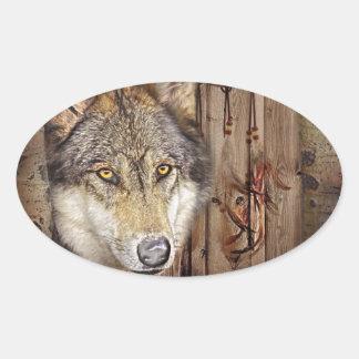 Western dream catcher  native american indian wolf oval sticker