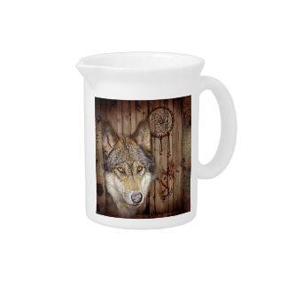 Western dream catcher  native american indian wolf pitcher