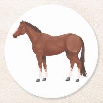 Western Equestrian Horseback Riding Horse Round Paper Coaster