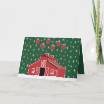 Western Farm Ranch Red Barn Holiday Card