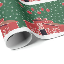 Western Farm Ranch Red Barn Holiday Wrapping Paper