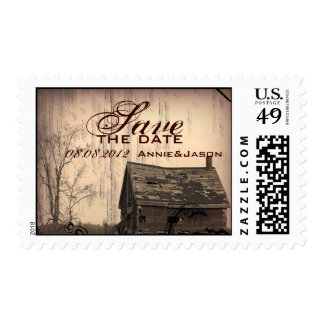 western farmhouse country Wedding savethedate Postage Stamp