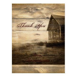 western farmhouse countrywedding thankyou postcard