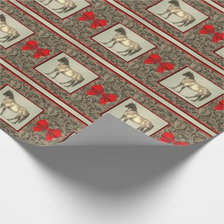 Western Faux Tooled Leather Print And Horse Wrapping Paper